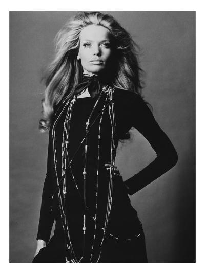 Vogue - November 1969 - Veruschka Draped with Necklaces-Franco Rubartelli-Premium Photographic Print