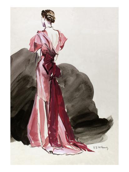 Vogue - October 1934 - Red Vionnet Evening Gown-Ren? Bou?t-Willaumez-Premium Giclee Print