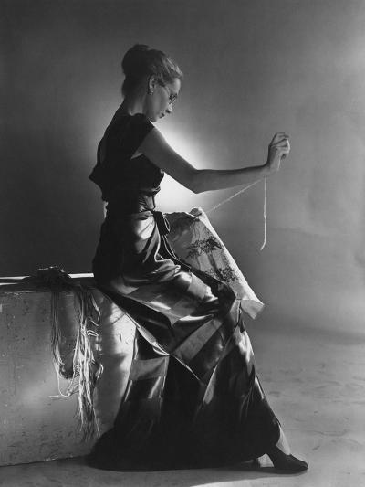 Vogue - October 1944 - Woman Embroidering in Evening Gown-Cecil Beaton-Premium Photographic Print