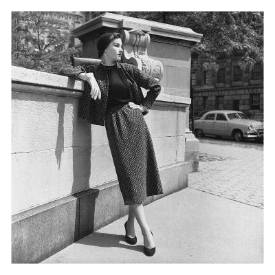 Vogue - October 1952 - Model Leans on Stone Wall-Horst P. Horst-Premium Photographic Print