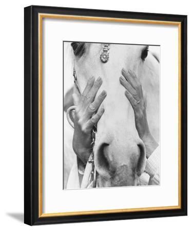 Vogue - September 1968 - Conchita Cintron & Horse-Henry Clarke-Framed Premium Photographic Print