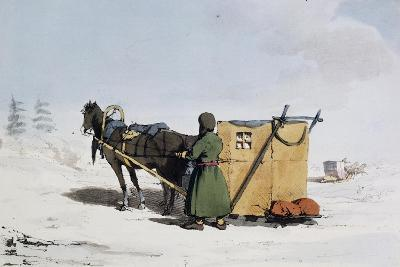 Voizok Kind of Winter Carriage Covered with Mat of Linden Bark, Russia, 19th Century--Giclee Print
