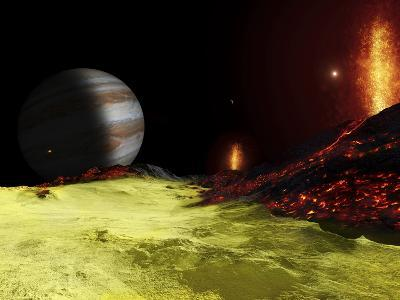 Volcanic Activity on Jupiter's Moon Io, with the Planet Jupiter Visible on the Horizon-Stocktrek Images-Photographic Print