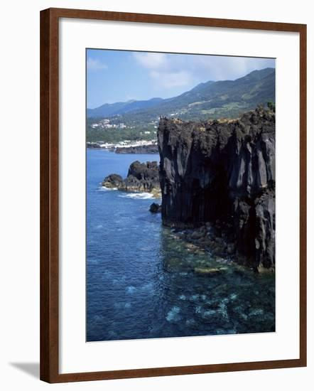 Volcanic Coastline, Island of Sao Jorge, Azores, Portugal, Atlantic-David Lomax-Framed Photographic Print