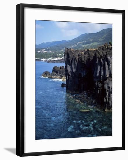 Volcanic Coastline, Island of Sao Jorge, Azores, Portugal, Atlantic-David Lomax-Framed Photographic Print