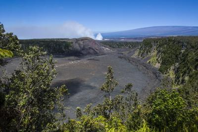 Volcanic Crater before the Smoking Kilauea Summit Lava Lake in the Hawaii Volcanoes National Park-Michael Runkel-Photographic Print