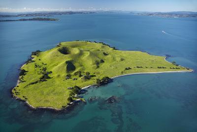 Volcanic Craters on Browns Island, or Motokorea, Hauraki Gulf, Auckland, North Island, New Zealand-David Wall-Photographic Print