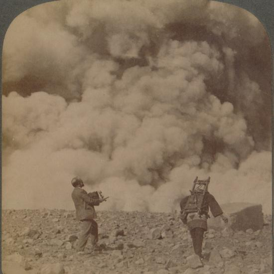 'Volcanic explosion - smoke, steam and stones thrown from crater of Asama-yama, Japan', 1904-Unknown-Photographic Print