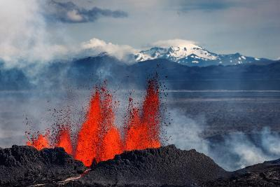 Volcano Eruption at the Holuhraun Fissure Near Bardarbunga Volcano, Iceland--Photographic Print