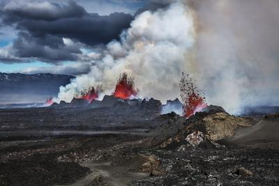 Volcano Eruption at the Holuhraun Fissure near Bardarbunga Volcano, Iceland-Arctic-Images-Photographic Print