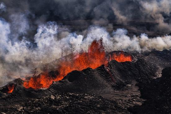 Volcano Eruption at the Holuhraun Fissure near Bardarbunga Volcano, Iceland-Arctic-Images-Photographic Print