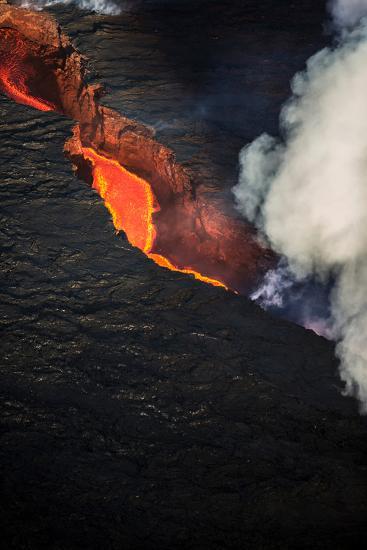 Volcano Eruption at the Holuhraun Fissure Near the Bardarbunga Volcano, Iceland--Photographic Print