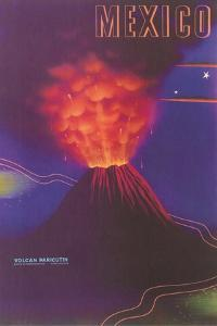 Volcano, Mexican Travel Poster