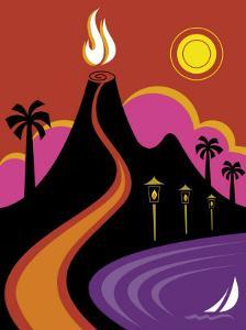 Volcano, Ocean and Lights in Hawaii