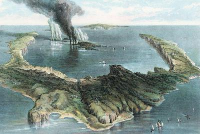 Volcano on the Island of Thera (Santorin) in Eruption, 1866--Giclee Print