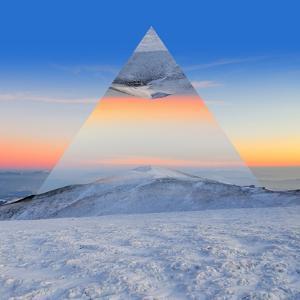 Winter Mountain Landscape at Sunset. Geometric Reflections Effect by Volodymyr Burdiak
