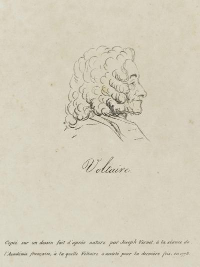 Voltaire (1694-1778), Represented Old, Profile, 1778-Claude Joseph Vernet-Giclee Print