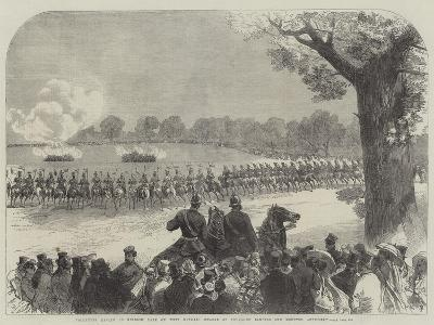 Volunteer Review in Windsor Park on Whit Monday, Charge of Yeomanry Lancers and Mounted Artillery-Charles Robinson-Giclee Print