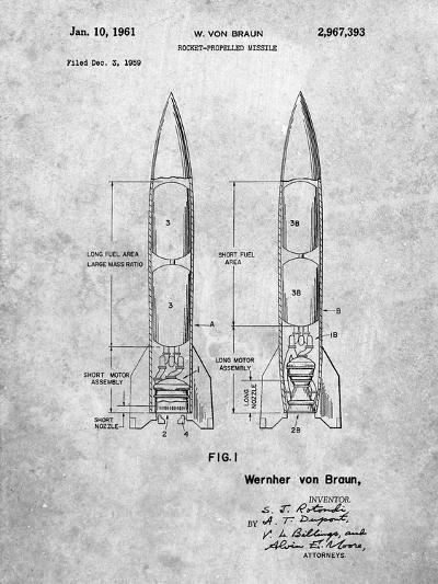 Von Braun Rocket Missile Patent-Cole Borders-Art Print