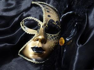 Gold A Carnival Mask With Black Feathers by voronin76