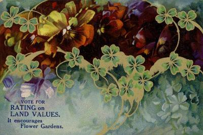 Vote for Rating on Land Values. it Encourages Flower Gardens--Giclee Print