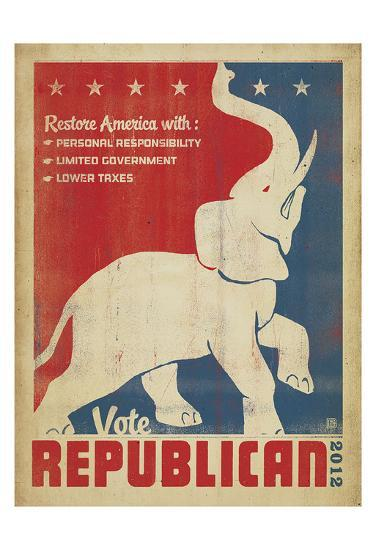 Vote Republican (Elephant)-Anderson Design Group-Art Print