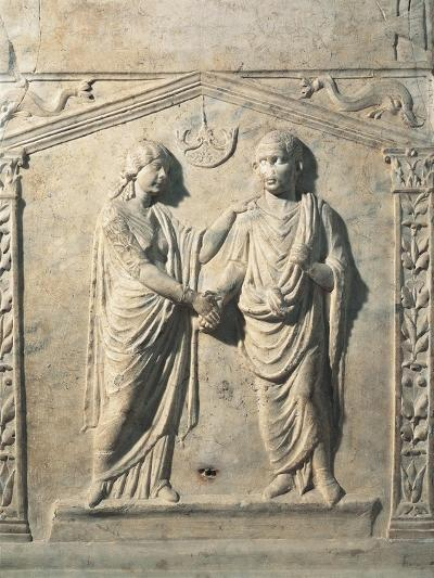 Votive Altar Depicting Bride and Groom at their Wedding During Dextrarum Iunctio Rite--Giclee Print