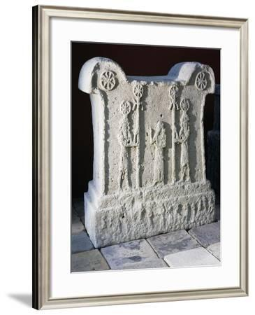 Votive Altar Depicting King Tukulti-Ninurta I in Prayer Between Two Gods Holding Wooden Standards--Framed Giclee Print