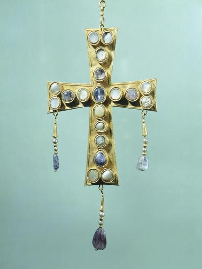 Votive Cross in Gold and Precious Stones--Giclee Print