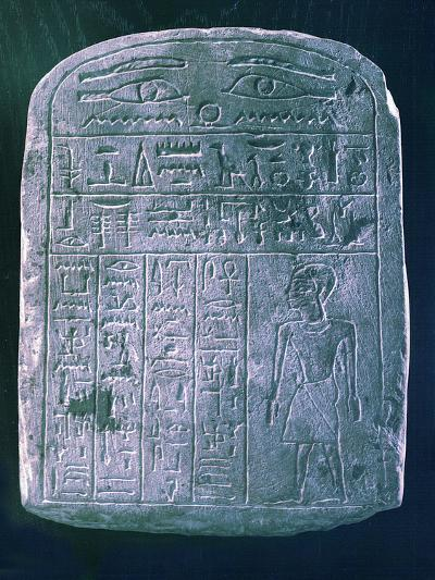 Votive Stele Dedicated by His Brother to a Man from Ermant, Near Thebes, Ancient Egypt--Photographic Print