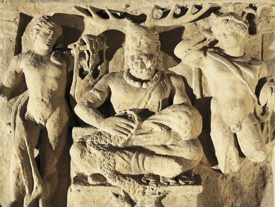 Votive Stele Portraying Celtic God Cernunnos Between Apollo and Mercury, Circa 100 A.D., from Reims--Giclee Print