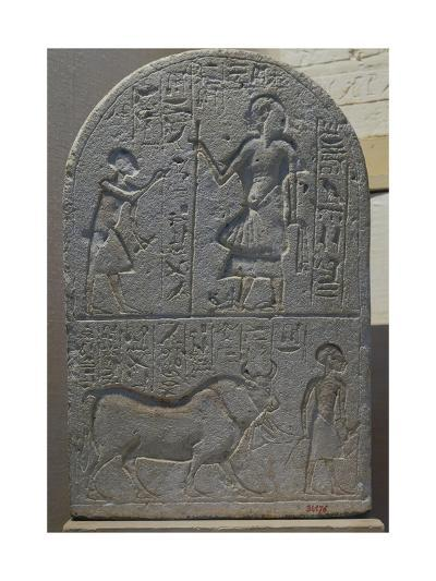 Votive Stele with Bas-Reliefs and Inscriptions from Tell El-Amarna, Limestone--Giclee Print
