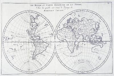 Voyage of Robinson Crusoe, from 18th Century Map of World--Giclee Print