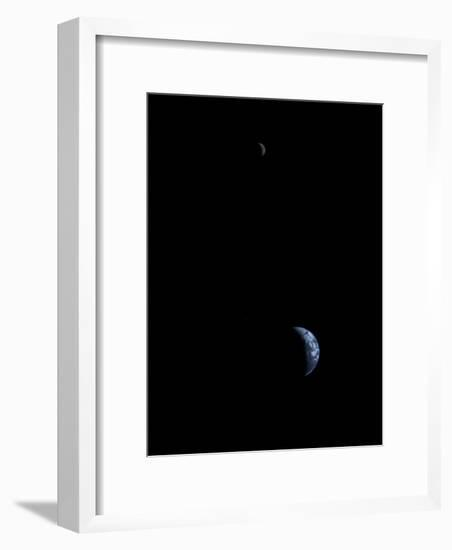 Voyager 1 transmitted this first-ever image of the Earth and moon--Framed Photographic Print