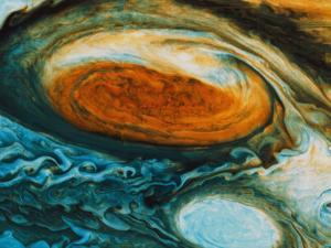Voyager's View of the Great Red Spot, an Immense High-Pressure Area
