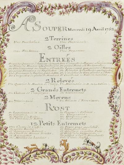 """"""" Voyages du roi au château de Choisy """" en 1752 : souper du mercredi 19 avril 1752-de Sainte Marie Brain-Giclee Print"""
