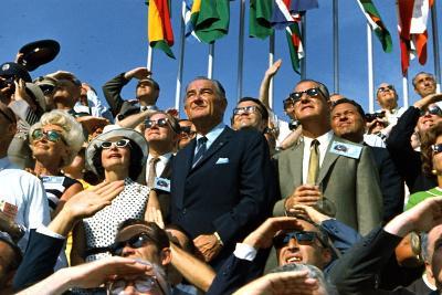VP Spiro Agnew and Lyndon Johnson Watch Apollo 11 Moon Launch, July 16, 1969--Photo