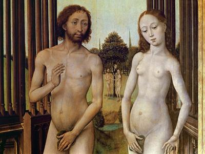 Adam and Eve Expelled from the Garden of Eden after Being Tempted by the Serpent to Eat the Apple