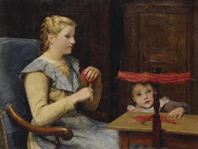 Vreneli Stuckl with Her Child Reeling Wool, 1905-Albert Anker-Giclee Print