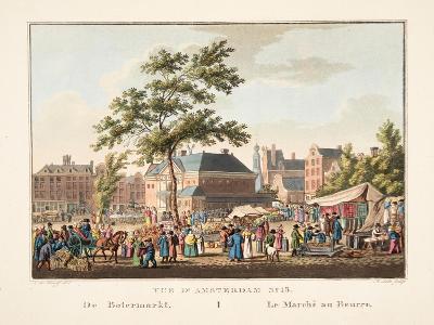 Vue D'Amsterdam No.15. De Botermarkt. Le Marché Au Beurre, 1825-Cornelis de Kruyff-Giclee Print