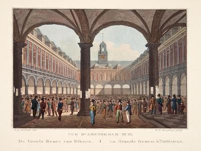 Vue D'Amsterdam No.33. De Groote Beurs Van Binnen. La Grande Bourse Á L'Intérieur, 1825-Hendrik Gerrit ten Cate-Giclee Print