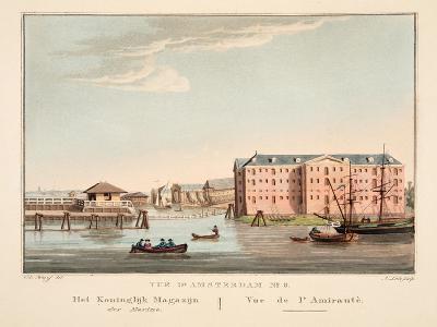 Vue D'Amsterdam No.5. Het Koninglijk Magazijn Der Marine. Vue De L'Amirautè, 1825-Cornelis de Kruyff-Giclee Print
