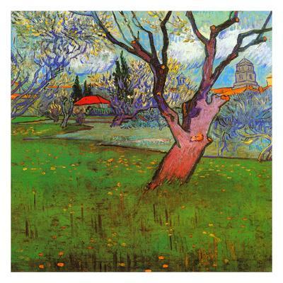 Vue d'Arles avec arbres en fleurs (Détail)-Vincent van Gogh-Art Print