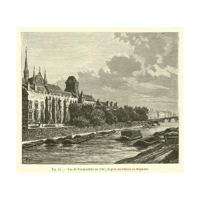 Vue De L'Archeveche En 1751; D'Apres Un Tableau De Raguenet--Giclee Print