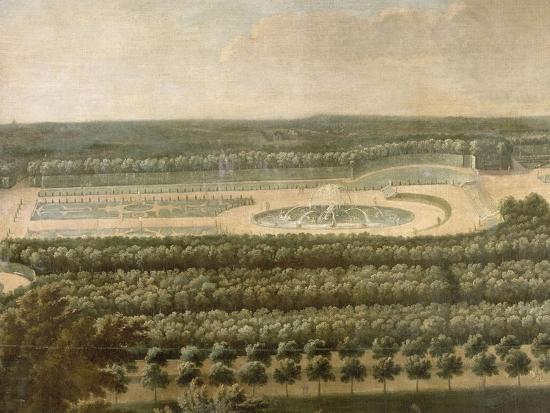Vue de l'Orangerie, des parterres et du château de Versailles prises des hauteurs de Satory-Etienne Allegrain-Giclee Print