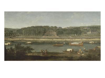 Vue de la Grande Cascade, des parterres et du château de Saint-Cloud prise de la Seine avant 1671-der Meulen Adam Frans Van-Giclee Print