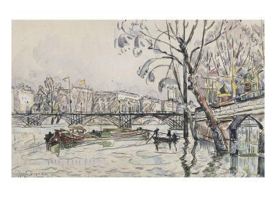 Vue de la Seine en crue au Pont des Arts-Paul Signac-Giclee Print
