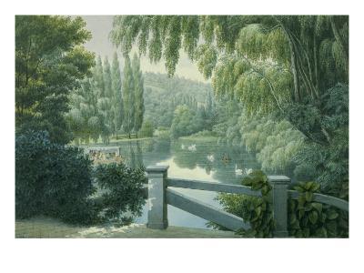 Vue de Malmaison : promenade des dames d'honneur sur la rivière.-Auguste Garneray-Giclee Print