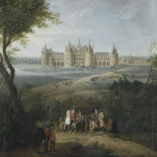 Vue du château de Chambord vers 1722 - au premier plan, le duc d'Orléans, Régent, donnant ses-Pierre Denis Martin-Giclee Print