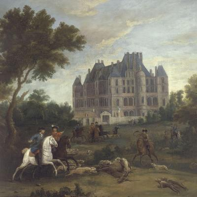Vue du château de Madrid dans le bois de Boulogne vers 1722 - avec chasse au cerf du duc de-Pierre Denis Martin-Giclee Print
